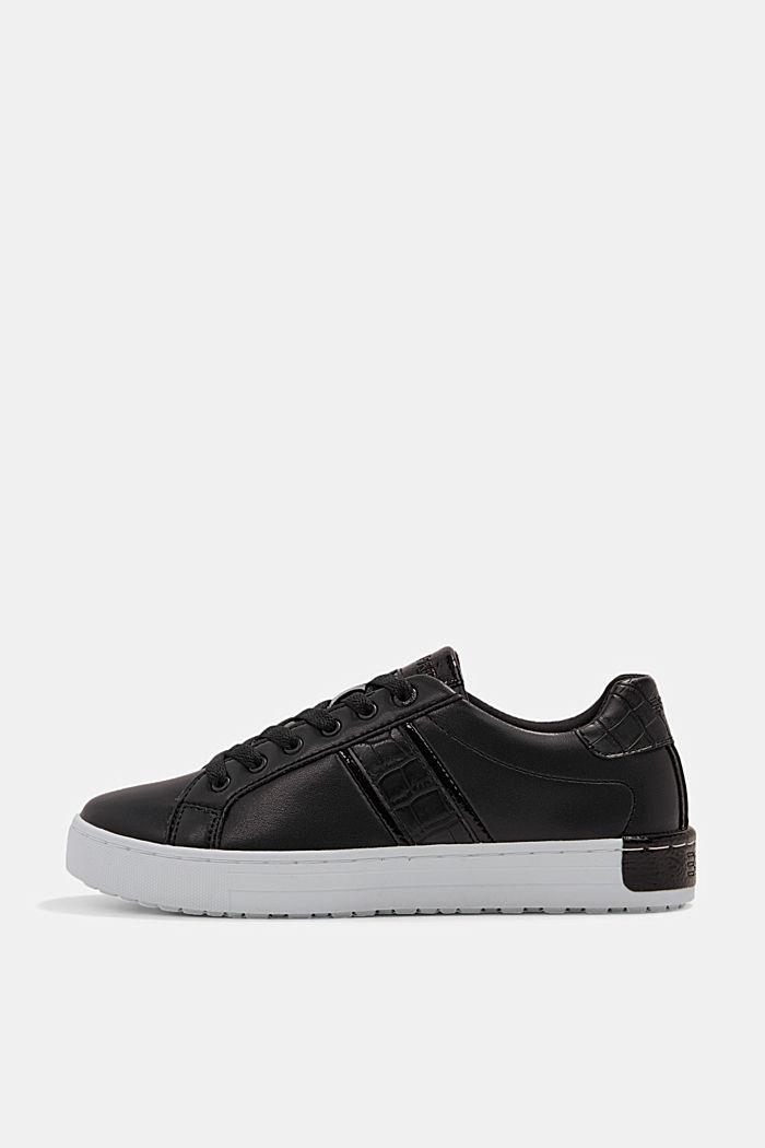 Sneakers van een materiaalmix van imitatieleer, BLACK, detail image number 0