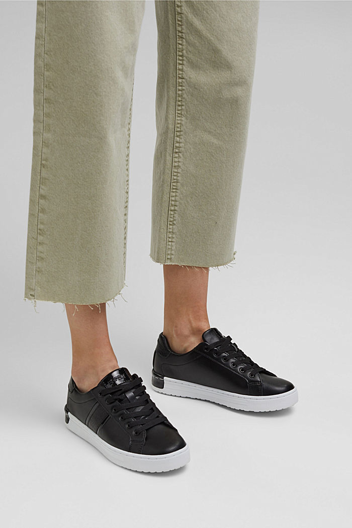 Sneakers van een materiaalmix van imitatieleer, BLACK, detail image number 3