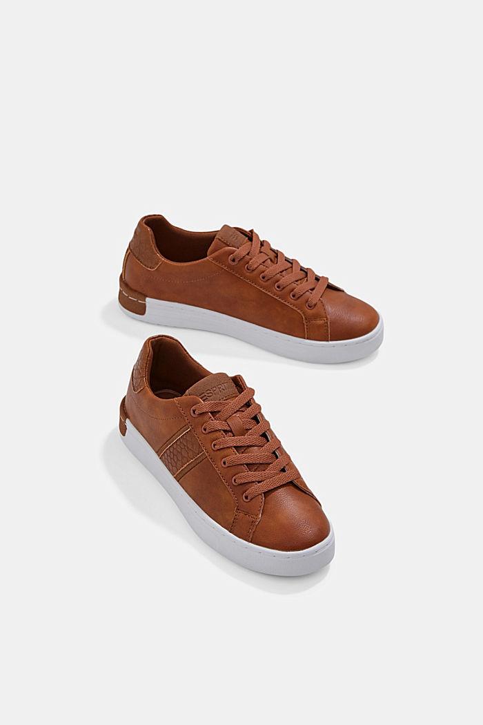 Sneakers van een materiaalmix van imitatieleer, TOFFEE, detail image number 6
