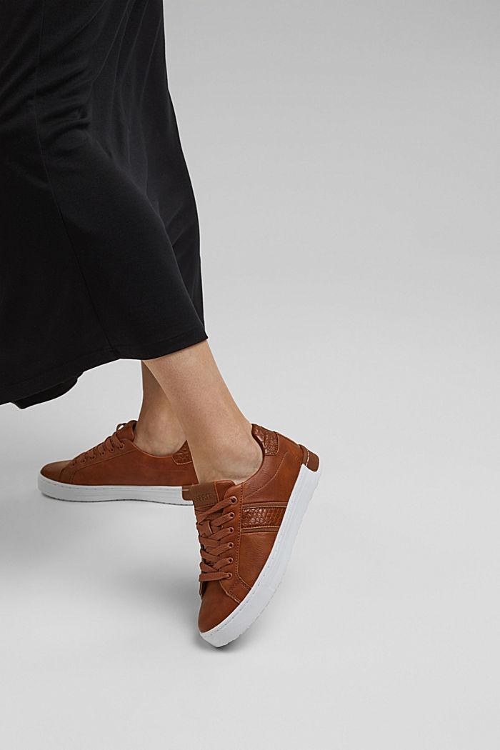 Sneakers van een materiaalmix van imitatieleer, TOFFEE, detail image number 3