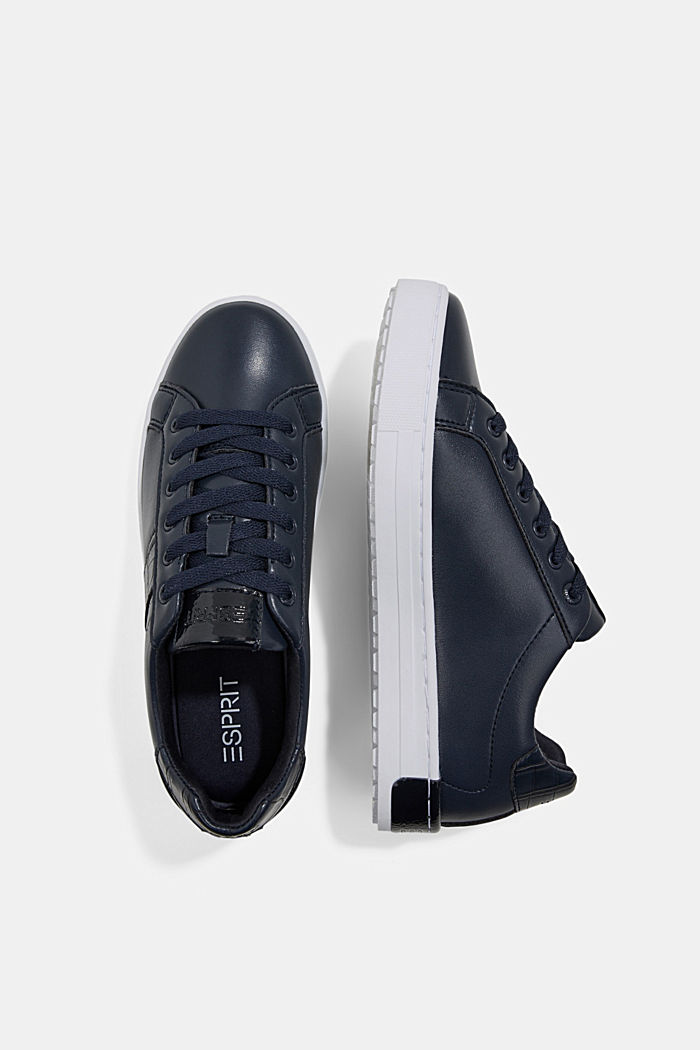 Sneakers aus Materialmix in Lederoptik, NAVY, detail image number 1