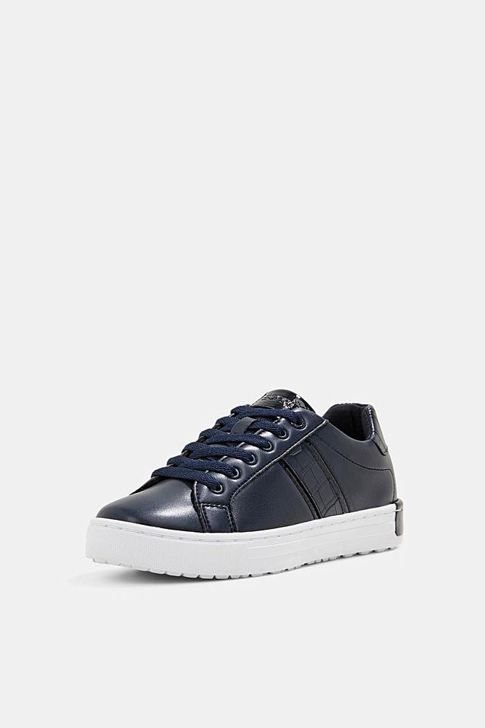 Sneakers aus Materialmix in Lederoptik, NAVY, detail image number 2
