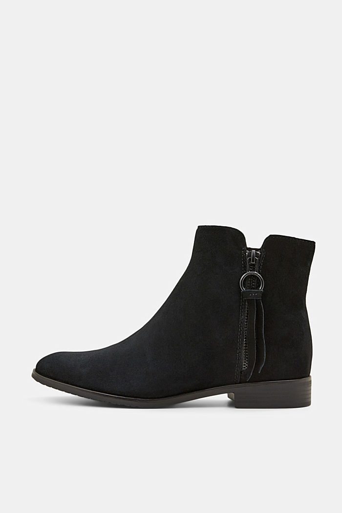 Suede ankle boots with a zip, BLACK, detail image number 0
