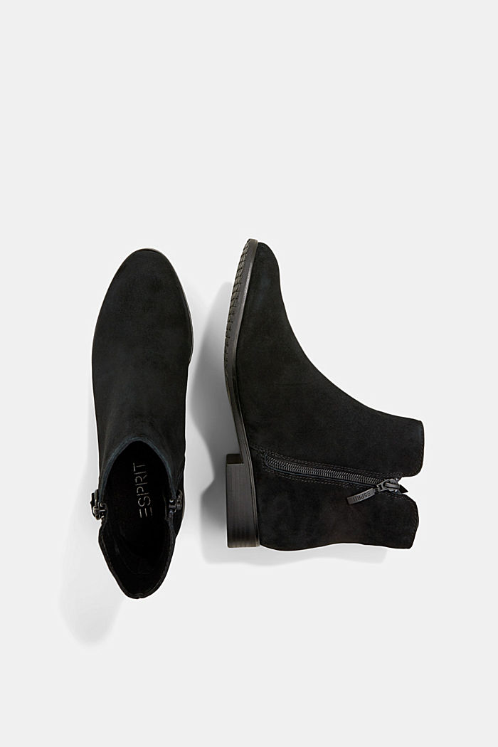 Suede ankle boots with a zip, BLACK, detail image number 1