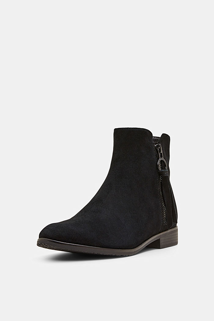 Suede ankle boots with a zip, BLACK, detail image number 2