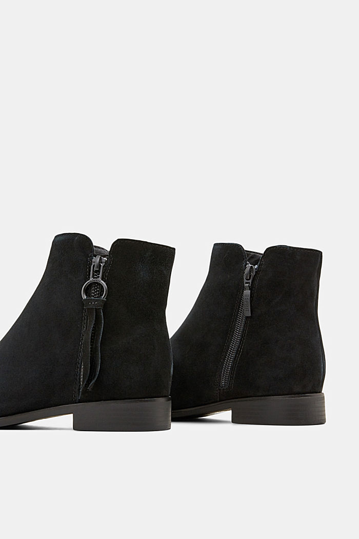 Suede ankle boots with a zip, BLACK, detail image number 5