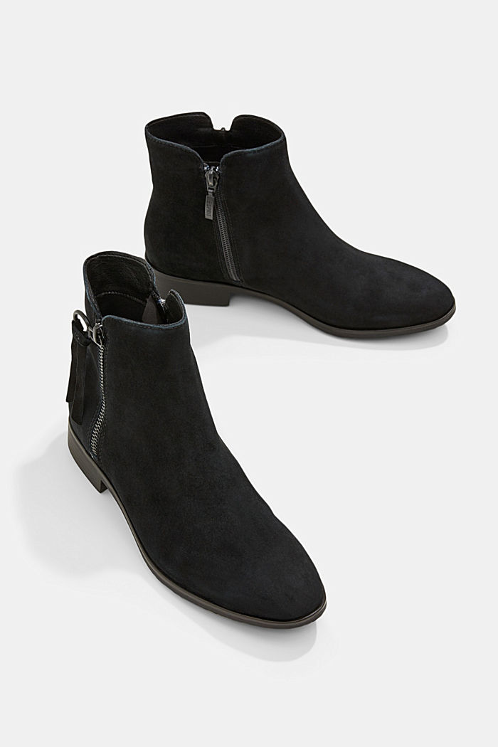 Suede ankle boots with a zip, BLACK, detail image number 6