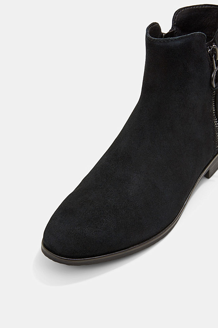 Suede ankle boots with a zip, BLACK, detail image number 4