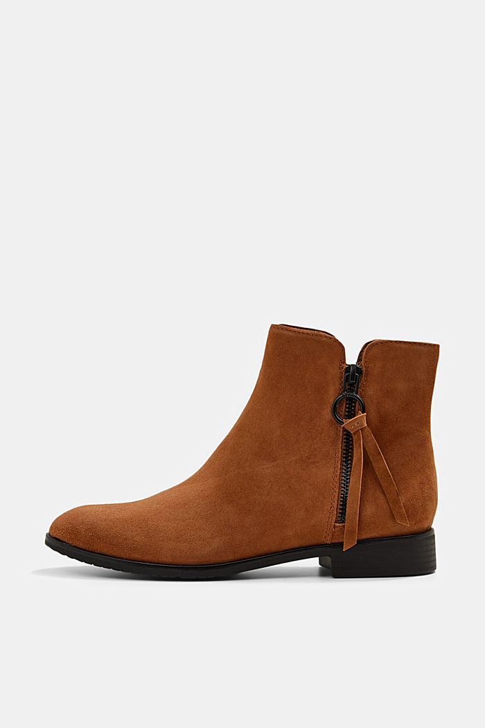 Suede ankle boots with a zip