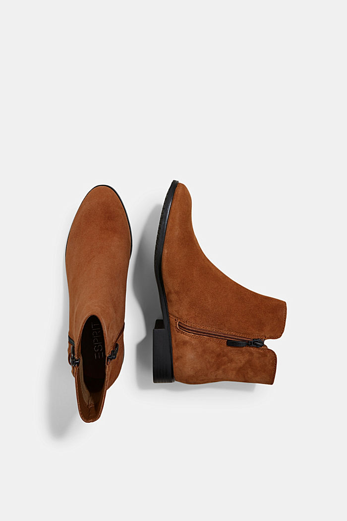 Suede ankle boots with a zip, TOFFEE, detail image number 1