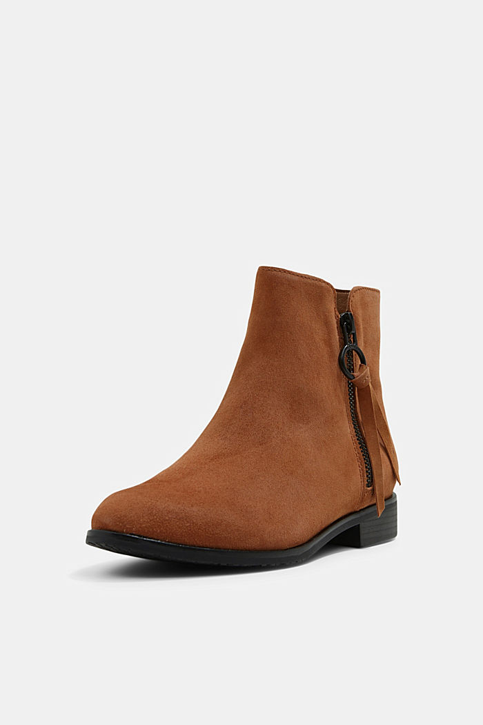 Suede ankle boots with a zip, TOFFEE, detail image number 2