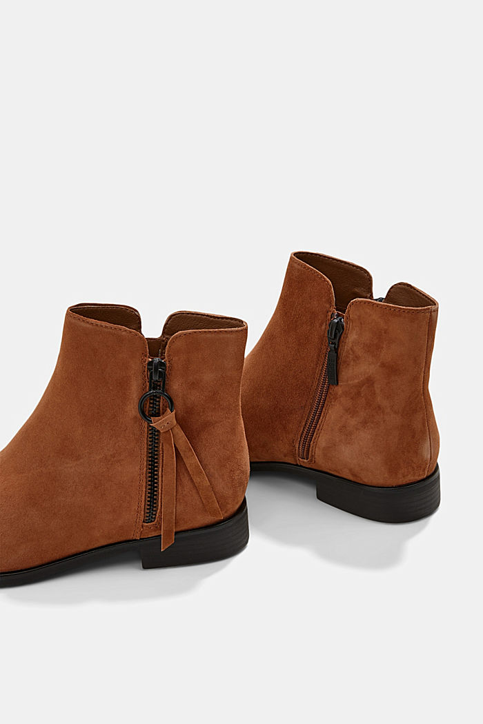 Suede ankle boots with a zip, TOFFEE, detail image number 4