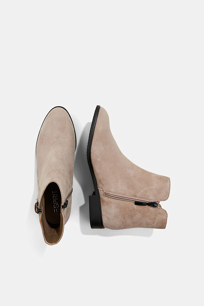 Suede ankle boots with a zip, TAUPE, detail image number 1