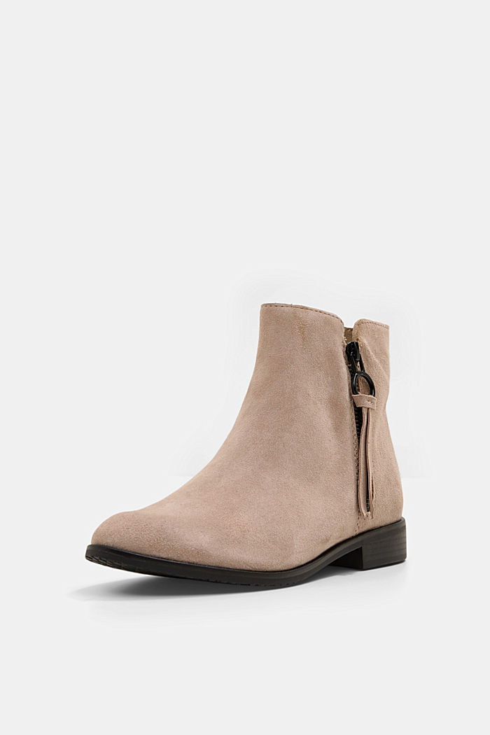 Suede ankle boots with a zip, TAUPE, detail image number 2