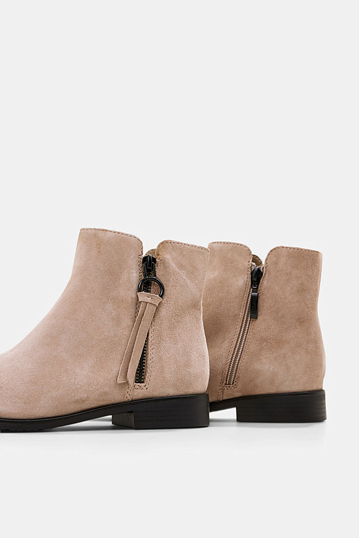 Suede ankle boots with a zip, TAUPE, detail image number 5