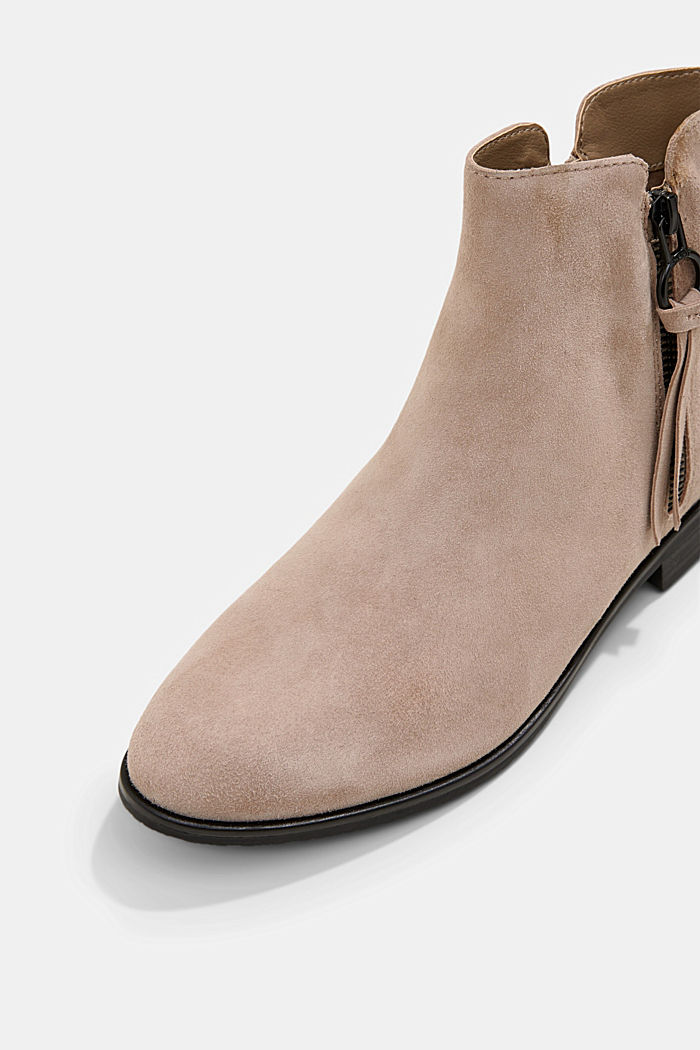 Suede ankle boots with a zip, TAUPE, detail image number 4