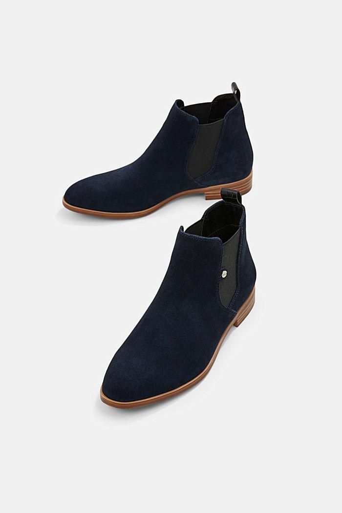 Chelsea boots van suède, NAVY, detail image number 6