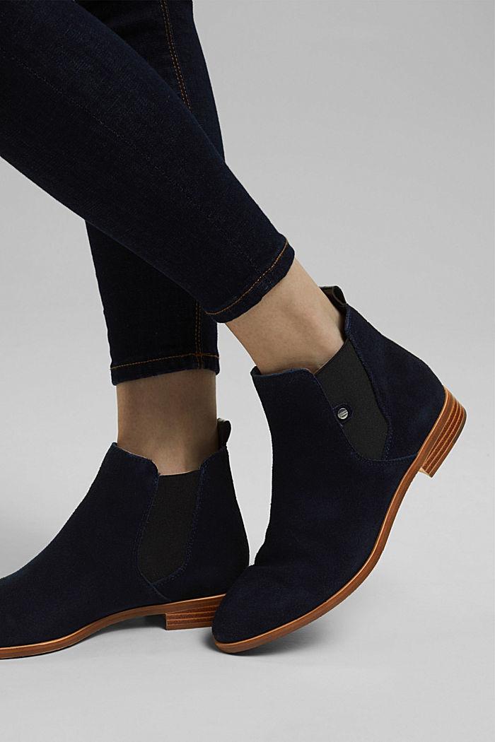 Chelsea boots van suède, NAVY, detail image number 3