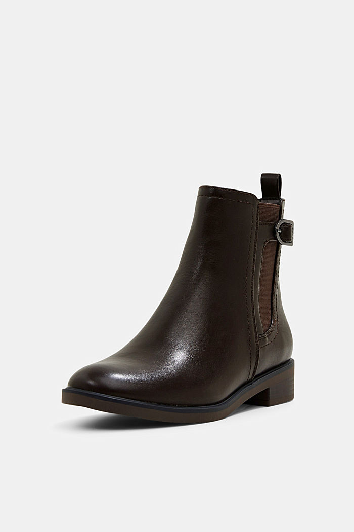 Faux leather Chelsea boots, DARK BROWN, detail image number 2