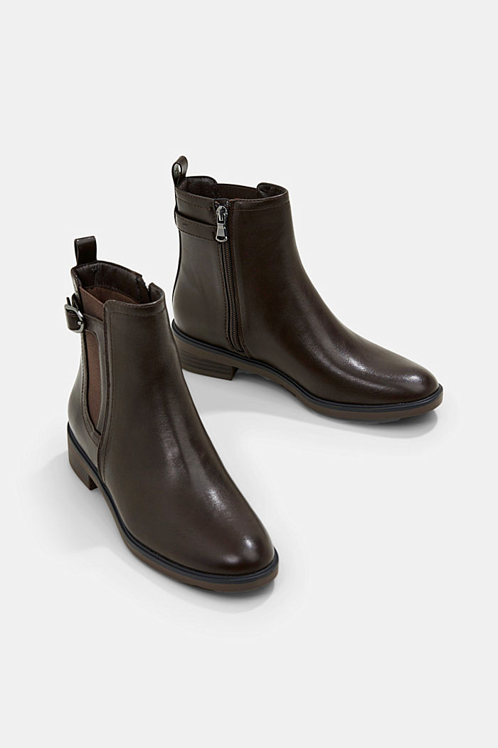 Faux leather Chelsea boots, DARK BROWN, detail image number 6