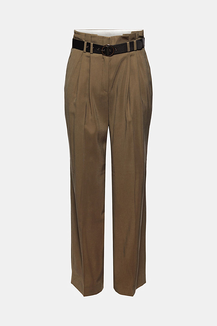 Paperbag trousers with a faux leather belt