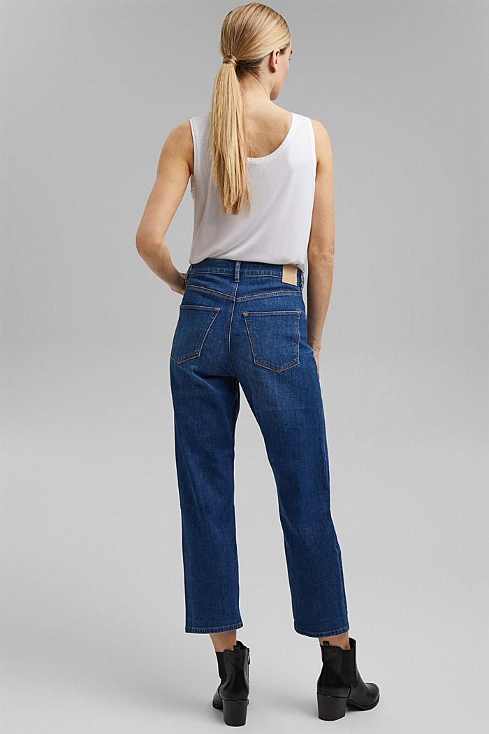 Cropped cotton blend jeans, BLUE MEDIUM WASHED, detail image number 3