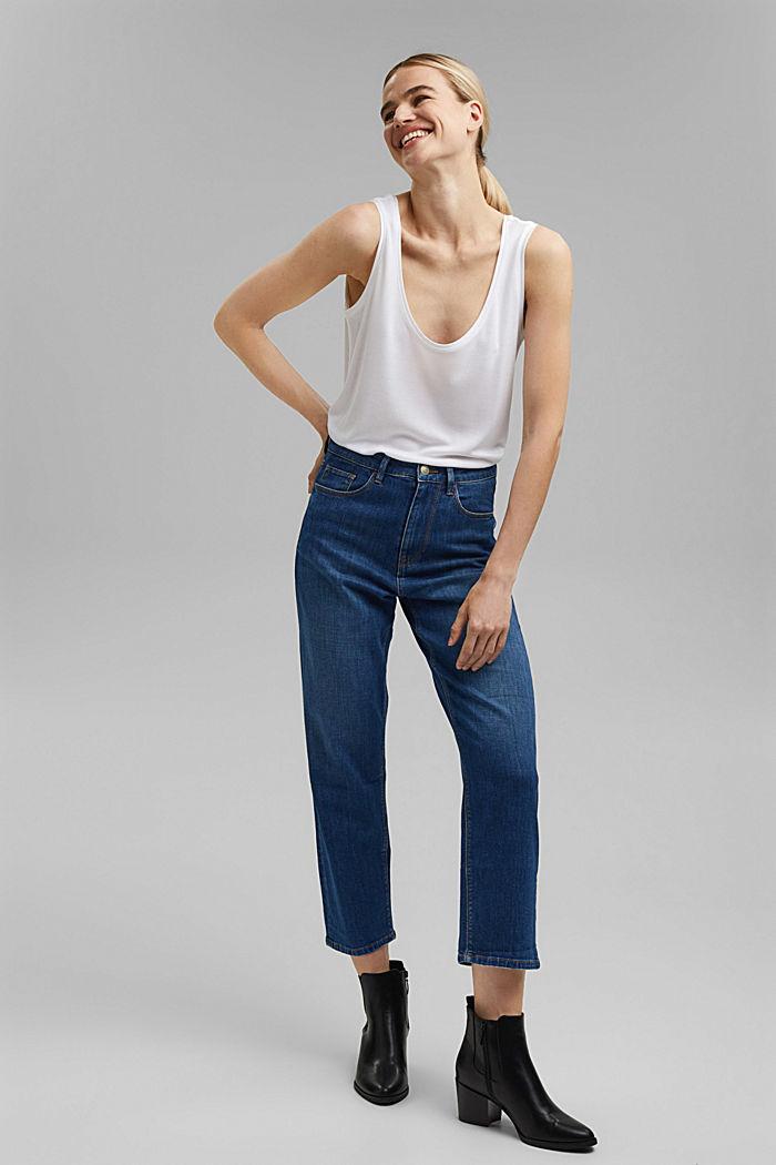 Cropped cotton blend jeans, BLUE MEDIUM WASHED, detail image number 1