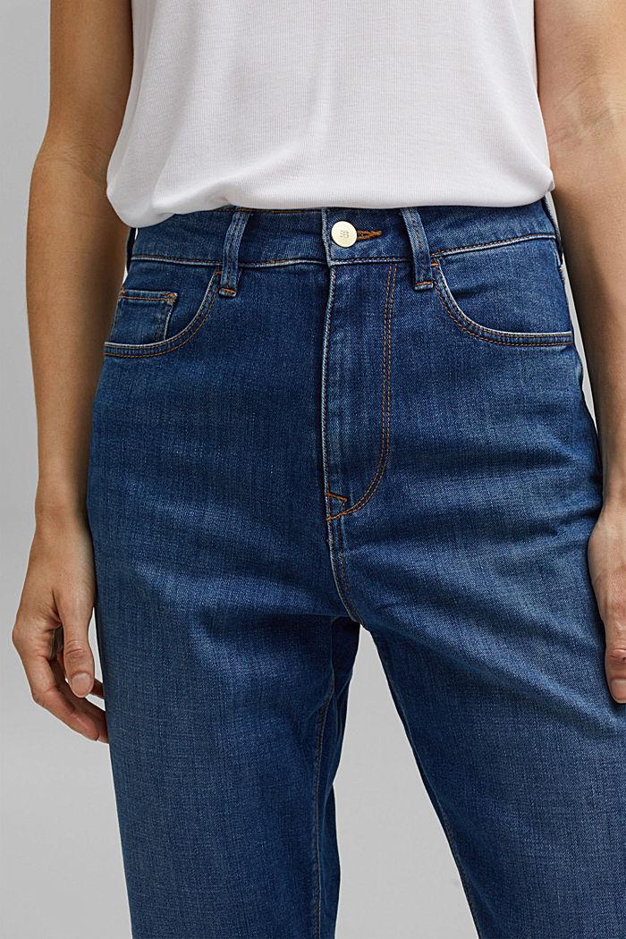 Cropped cotton blend jeans, BLUE MEDIUM WASHED, detail image number 2