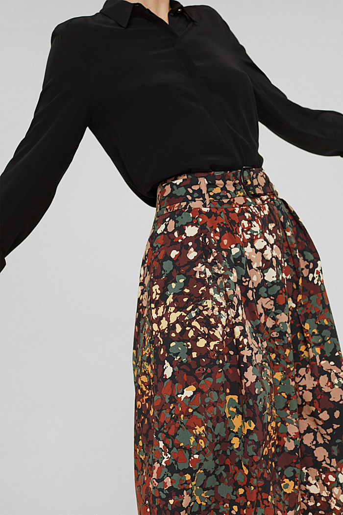 A-Linie-Rock mit Blumen-Print, BLACK, detail image number 2