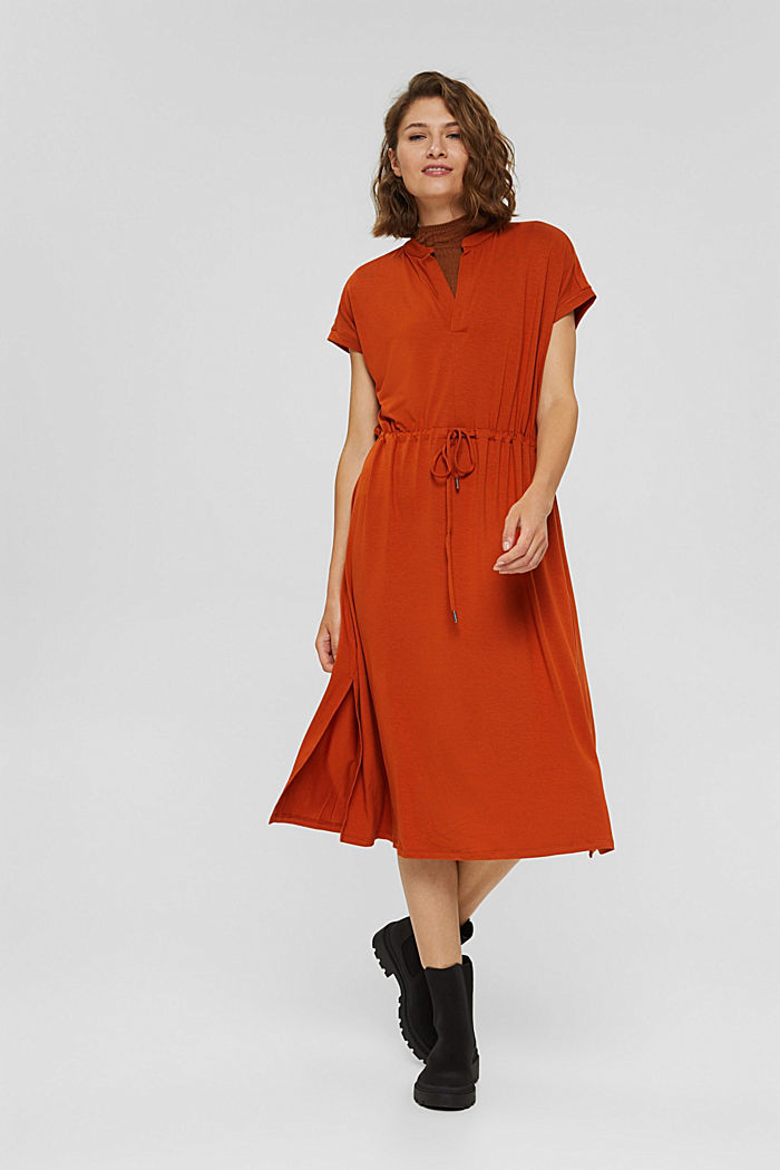 Jersey-Kleid aus LENZING™ ECOVERO™, TERRACOTTA, detail image number 0