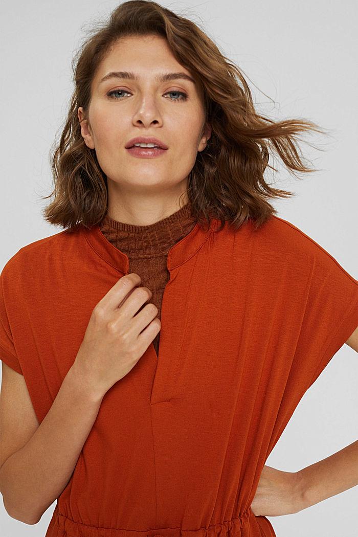 Jersey-Kleid aus LENZING™ ECOVERO™, TERRACOTTA, detail image number 5