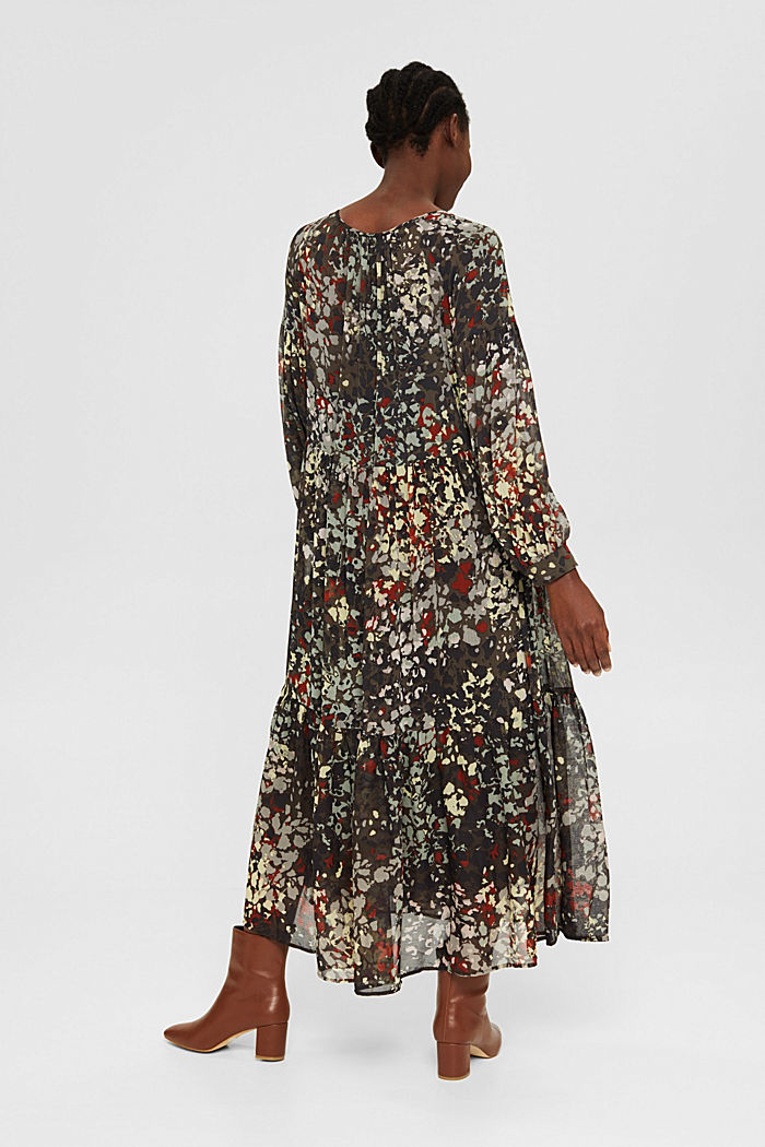 Recycled: floral maxi dress in chiffon, DARK KHAKI, detail image number 2