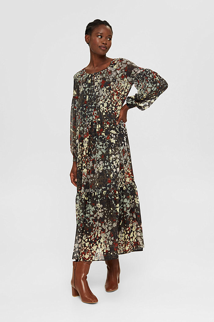 Recycled: floral maxi dress in chiffon, DARK KHAKI, detail image number 1