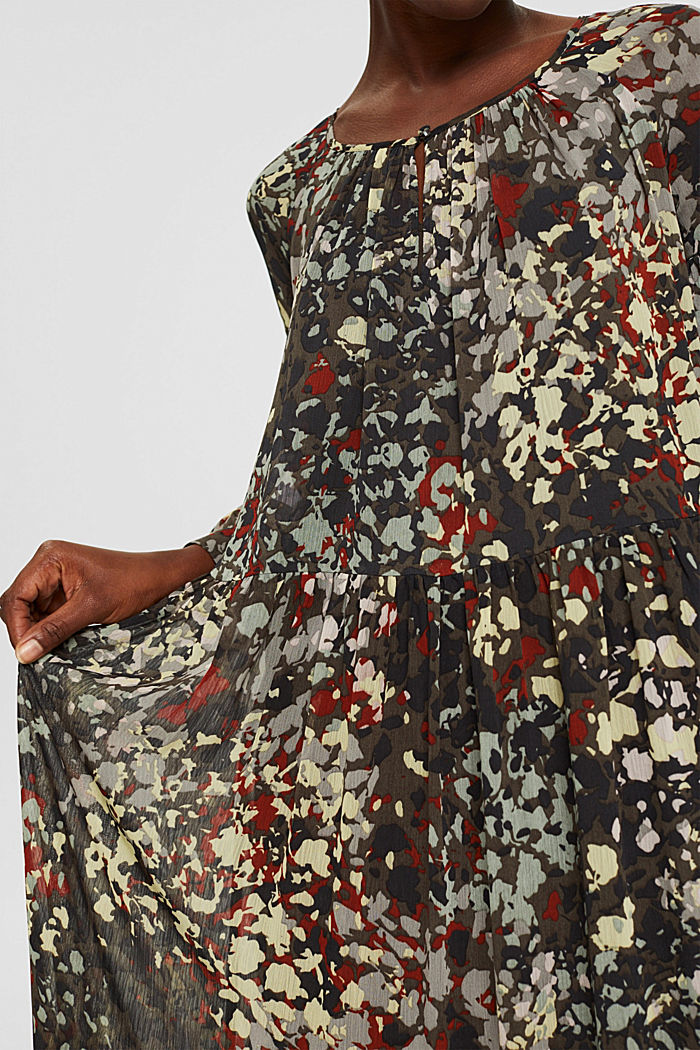 Recycled: floral maxi dress in chiffon, DARK KHAKI, detail image number 3