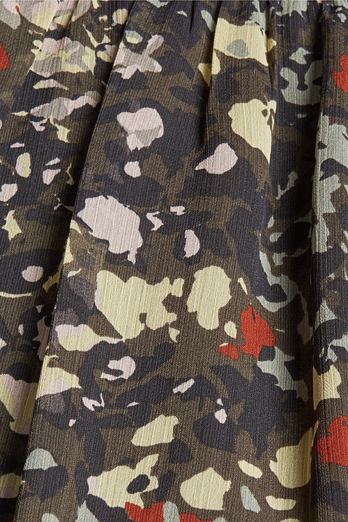 Recycled: floral maxi dress in chiffon, DARK KHAKI, detail image number 4