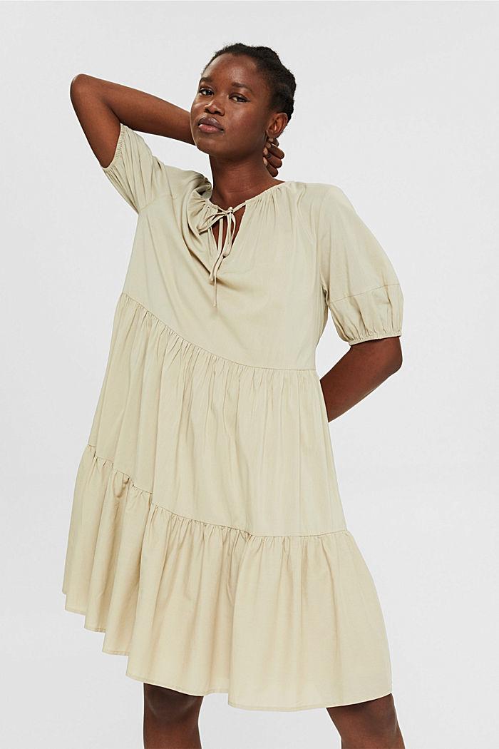 Kleid mit halblangen Ärmeln aus Baumwoll-Mix, DUSTY GREEN, detail image number 0