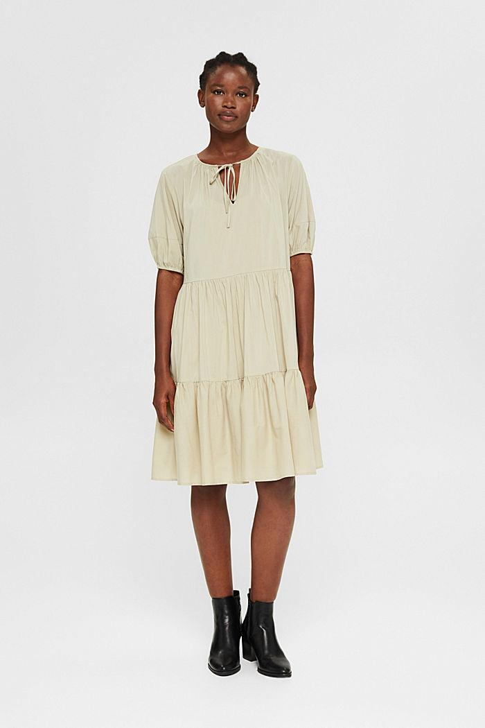 Kleid mit halblangen Ärmeln aus Baumwoll-Mix, DUSTY GREEN, detail image number 1