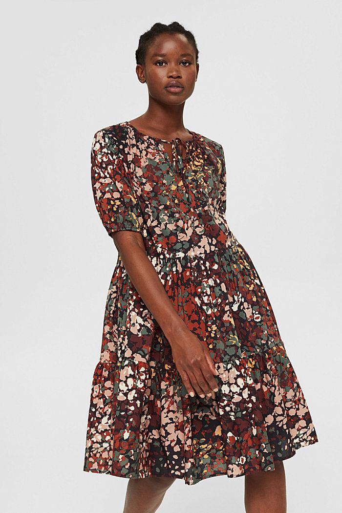 Robe à imprimé en coton mélangé, BLACK, detail image number 0