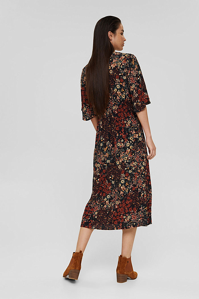 Floral midi dress with LENZING™ ECOVERO™, BLACK, detail image number 2
