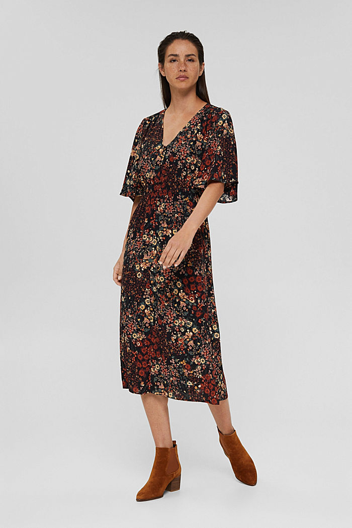 Floral midi dress with LENZING™ ECOVERO™, BLACK, detail image number 1