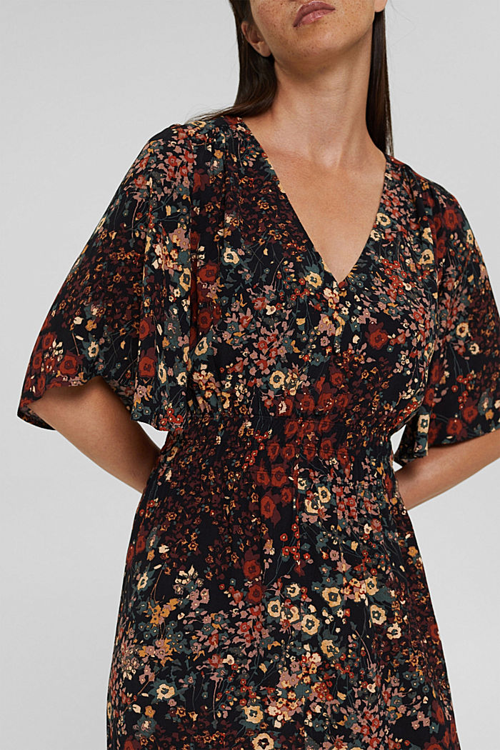 Floral midi dress with LENZING™ ECOVERO™, BLACK, detail image number 3