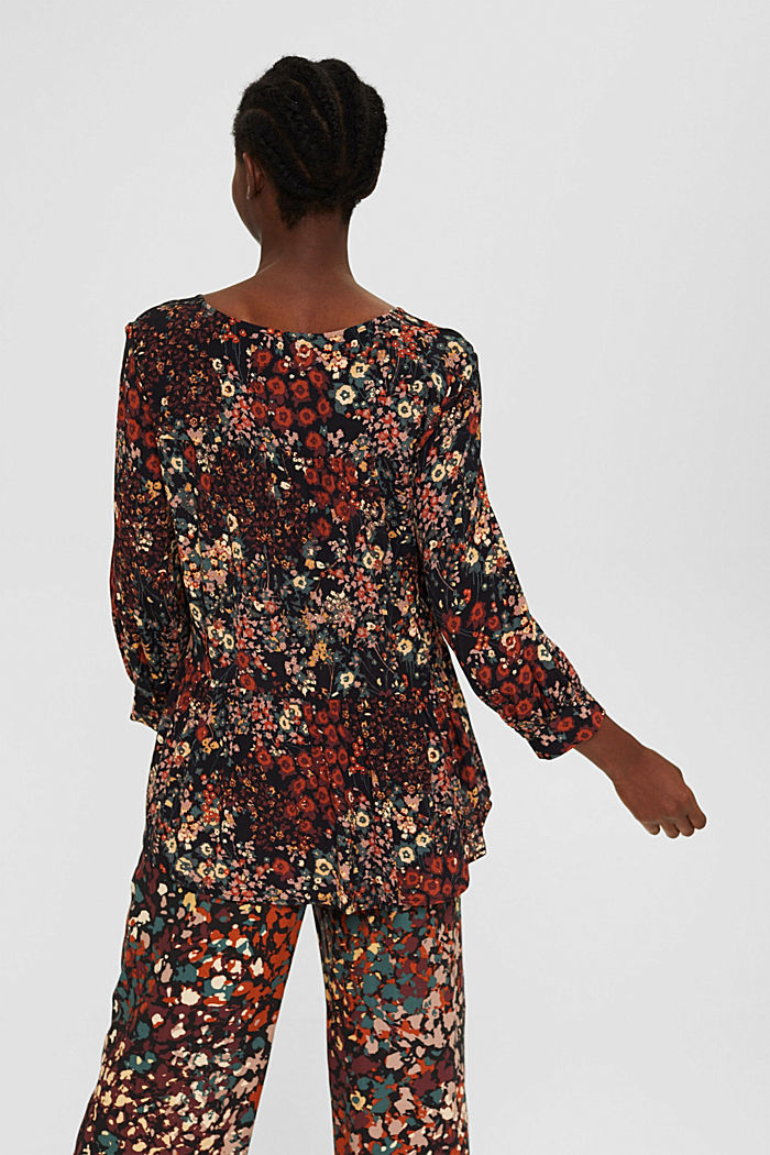 Tunic blouse with print and flounce hem, BLACK, detail image number 3