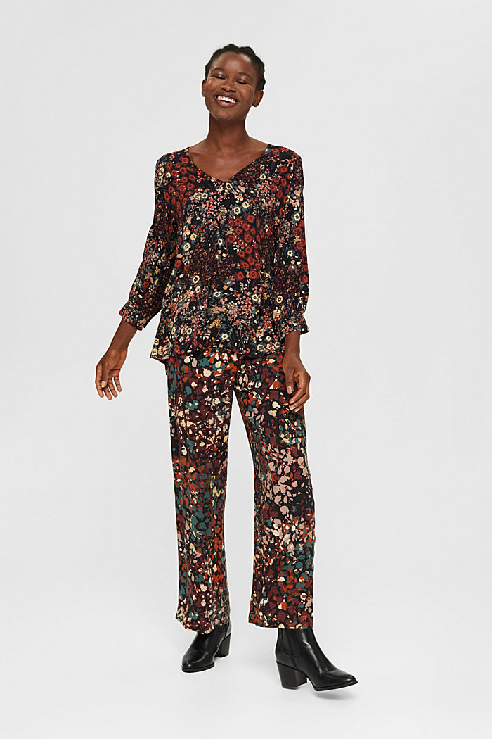 Tunic blouse with print and flounce hem, BLACK, detail image number 1