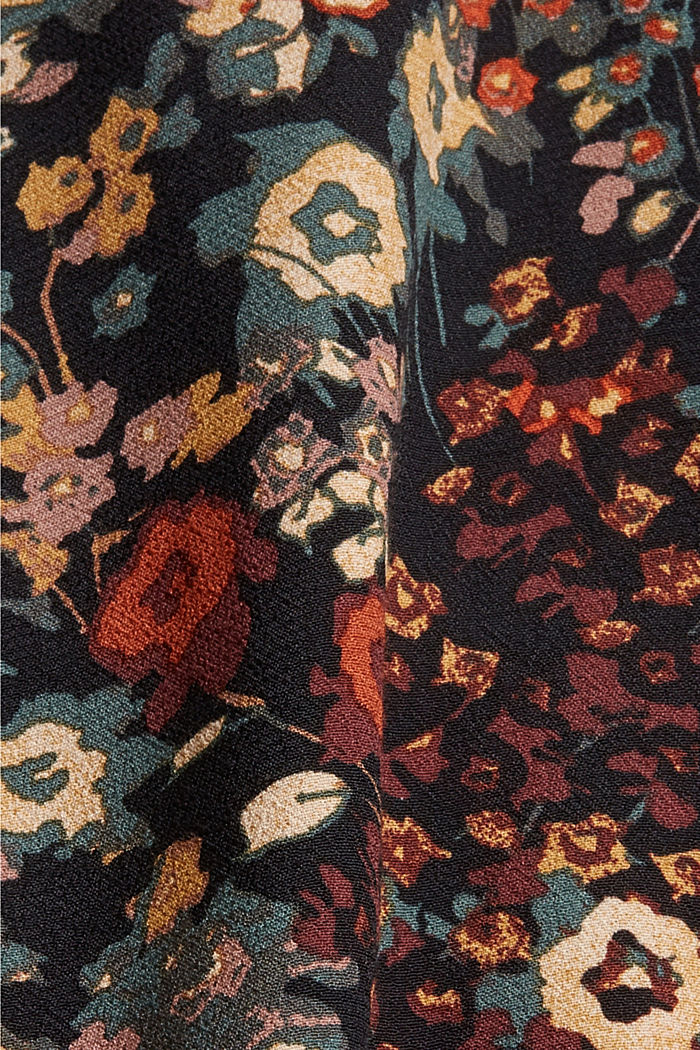 Tunic blouse with print and flounce hem, BLACK, detail image number 4