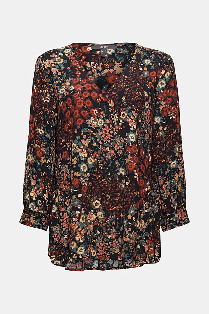 Tunic blouse with print and flounce hem