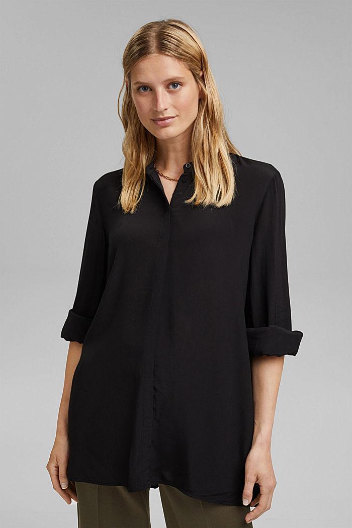 Längere Tunika-Bluse mit LENZING™ ECOVERO™, BLACK, detail image number 0
