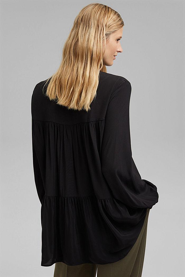Längere Tunika-Bluse mit LENZING™ ECOVERO™, BLACK, detail image number 3