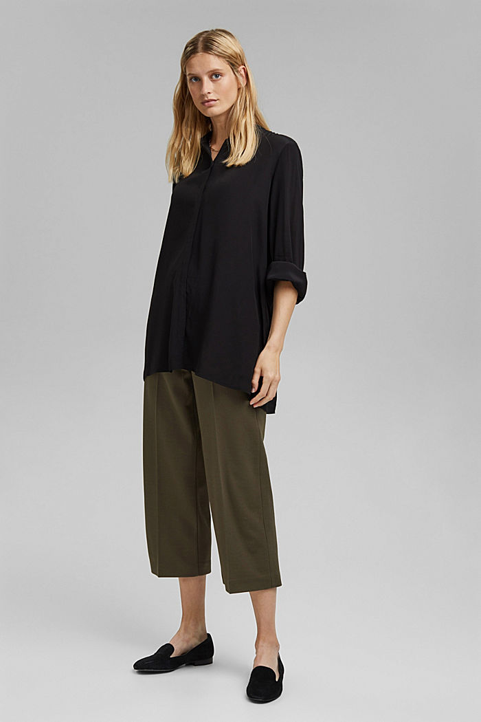 Längere Tunika-Bluse mit LENZING™ ECOVERO™, BLACK, detail image number 1