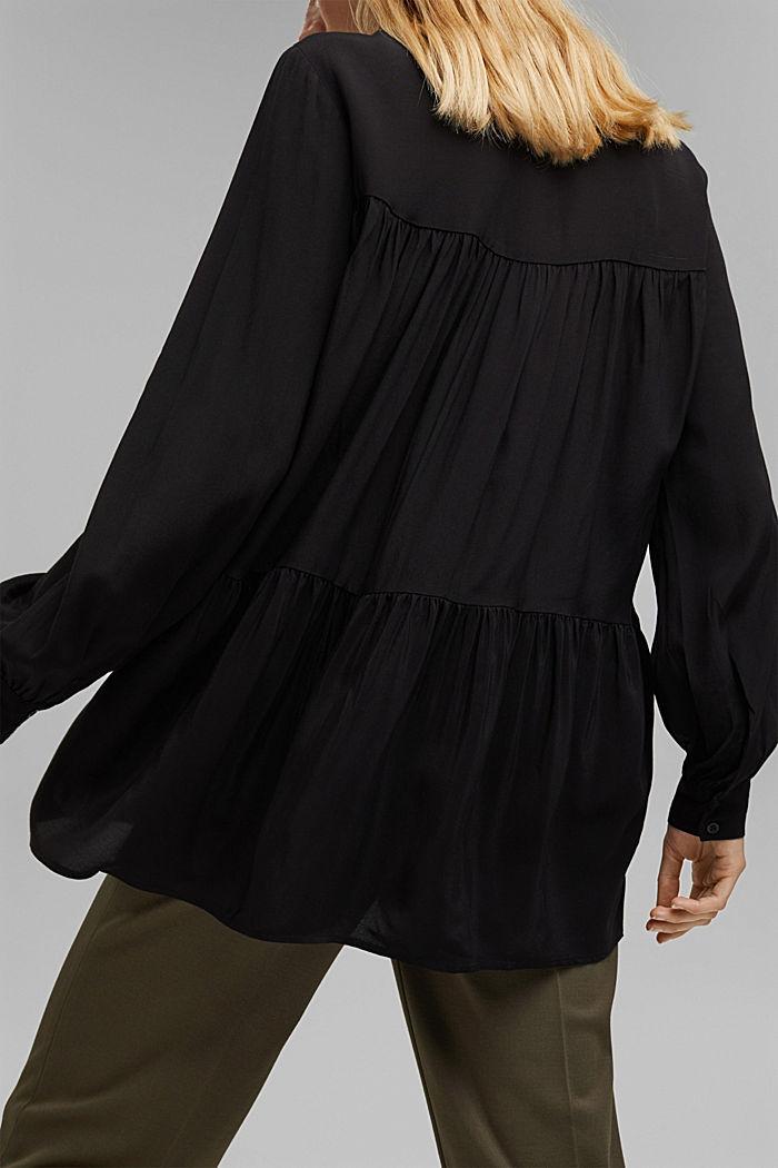 Längere Tunika-Bluse mit LENZING™ ECOVERO™, BLACK, detail image number 2