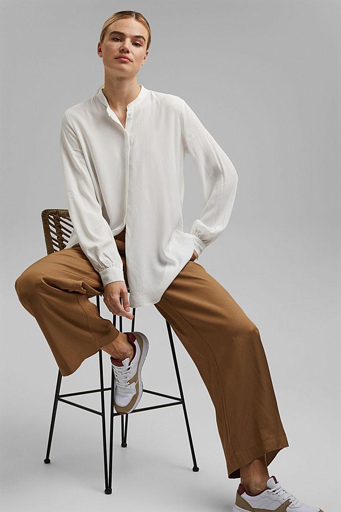 Longer tunic blouse containing LENZING™ ECOVERO™, OFF WHITE, detail image number 1